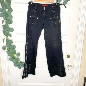 VINTAGE TRIPP NYC Black Wide Leg Zip Chain Pants 7